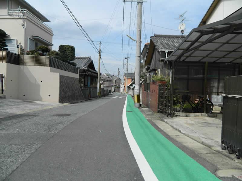 北九州市若松区管内 路側帯(樹脂系滑り止め舗装・トップ付)