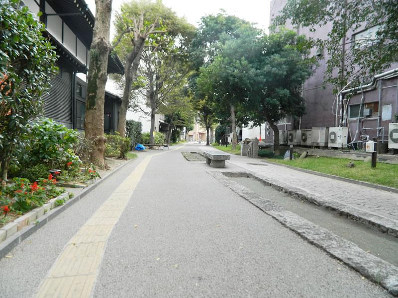 福岡県飯塚市本町通り(透水性脱色アスファルト舗装)